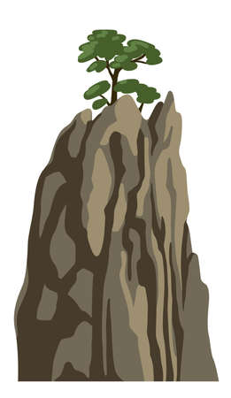 Realistic mountain with a tree on top. Rocky chinese mountain for asian landscape. Vector isolated illustration. Illustration
