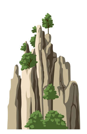 Realistic chinese mountain, rock, hill. Isolated vector illustration. Cartoon hand-drawn element for asian landscape. 矢量图像