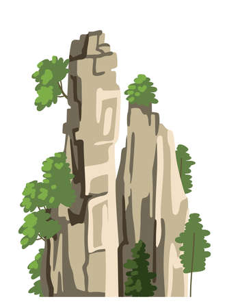Realistic chinese mountain. Cartoon hand-drawn rock for asian landscape. Isolated vector element on a white background. Flat illustration.