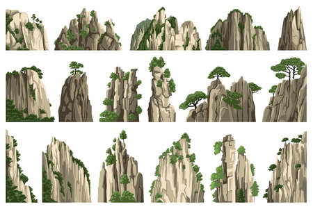 Mountains vector illustration. Rocks, hills, stones. Big set of isolated realistic landscape asian chinese elements on white background. Cartoon style.
