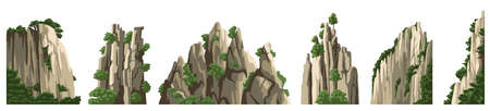 Mountains vector elements. Rocks, hills, stones isolated on white background. Asian landscape. Cartoon illustration.