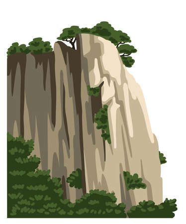 Mountain, hill, rock, isolated element for asian landscape. Realistic nature vector clipart. Cartoon flat illustration.