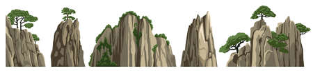 Mountains, rocks, hills, stones. Vector elements of asian chinese landscape, isolated on white background. Cartoon illustration. 矢量图像