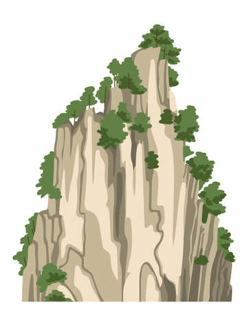 Realistic chinese mountain, rock, hill. Isolated vector illustration. Cartoon hand-drawn element for asian landscape. Illustration