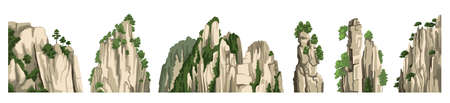 Chinese mountains vector. Realistic rocks, hills, stones isolated on white background. Asian landscape design elements. Cartoon illustration.