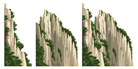 Realistic chinese mountain. Rock Isolated vector illustration. Cartoon hand-drawn element for asian landscape. Illustration