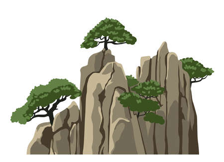 Mountain vector isolated clipart. Realistic mountain, rock, hill. Element for chinese landscape. Asian scenery. Cartoon illustration. 矢量图像