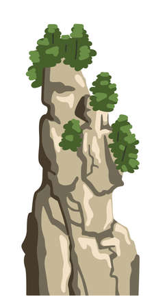 Chinese mountain peak, hill top, isolated element for asian scenery. Realistic nature vector clipart. Cartoon flat illustration.