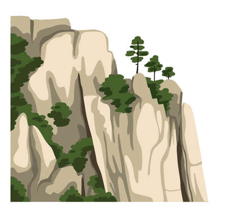 Chinese mountains. Isolated element for asian landscape. Realistic clipart. Vector illustration. Illustration