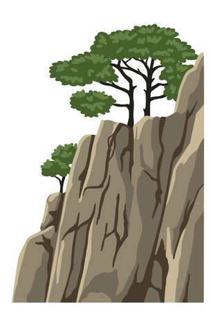 Mountain vector isolated clipart. Realistic mountain, rock, hill. Element for chinese landscape. Asian scenery. Cartoon illustration. Illustration