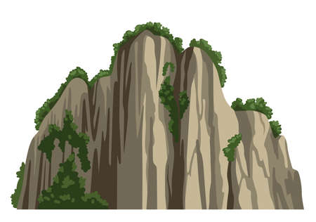 Realistic chinese rocky mountain. Asian scenery element isolated on white background. Flat cartoon vector illustration.