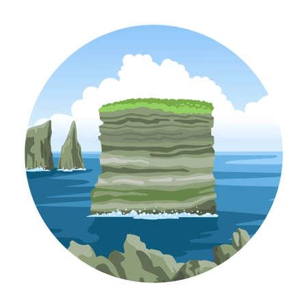 Multilayer Rock Dan Bristy near Irish coast. Colorful ocean view. Simple round icon. Hand-drawn vector illustration.