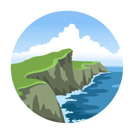 Ireland coast. Green irish landscape. Round simple hand-drawn seascape. Vector illustration. Ilustração