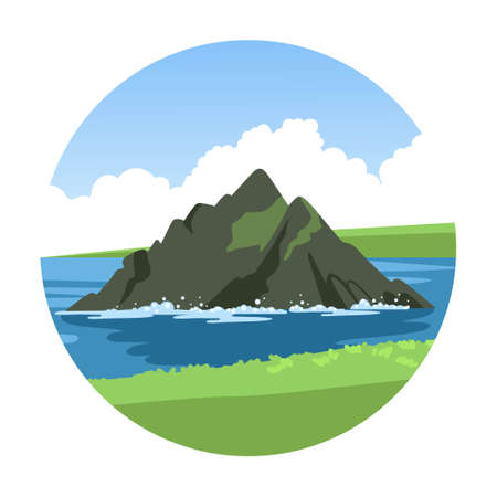 The rock on the horizon. Round sea view from the green coastline. Seascape summer hand-drawn vector illustration.