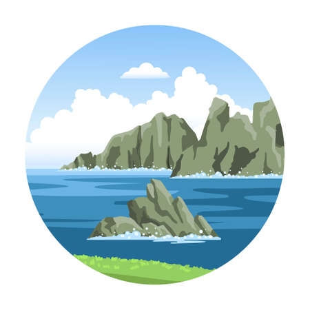 Round seascape with rocky cliffs. Simple hand-drawn vector illustration. Ocean view. Ilustração