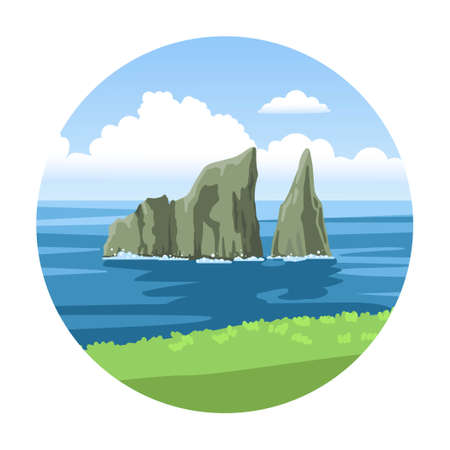 Kicker rock simple round illustration. Leon Dormido vector hand-drawn icon. Galapagos islands.