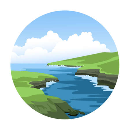 Sea nature landscape with green rocky coastlines and fluffy clouds. Simple round hand-drawn vector illustration.