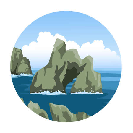 Seascape with rocks and sea foam, large fluffy clouds. Round hand-drawn illustration. Simple vector icon. Ilustração