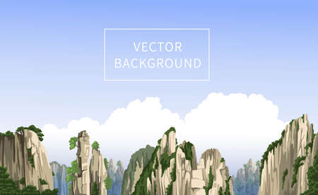 Chinese mountains panoramic landscape with big clouds. Realistic hand-drawn vector background. Travel to China. Flat illustration.