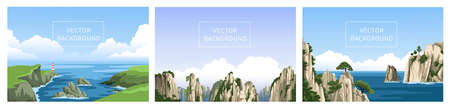 Coast with lighthouse, chinese mountains, rocky seascape, ocean. Set of realistic panoramic vector hand-drawn landscapes. Vertical vector backgrounds, flat illustrations.
