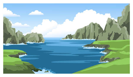 Sea nature landscape with fluffy clouds and rocks, cliffs, stones. Colorful panoramic scenery. Hand-drawn vector illustration.