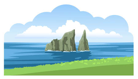 Beautiful panoramic seascape with Kicker Rock, green coastline, big fluffy clouds. Ocean scenic view. Hand-drawn vector illustration.