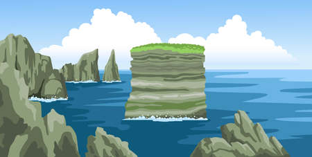 Sea landscape with rocks, cliffs, stones, blue sky with fluffy clouds. Colorful panoramic scenery. Ocean scenic view. Flat vector illustration. Ilustração