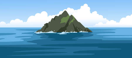 Skellig michael irish rock. Skellig Islands, County Kerry. Sea and ocean panoramic landscape. Travel to Ireland. Hand-drawn colorful vector illustration.