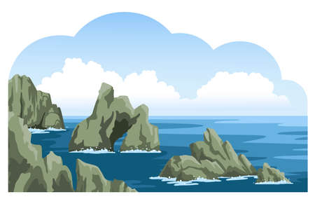 Beautiful rocks in the sea view. Nature landscape with fluffy clouds. Hand-drawn vector illustration.