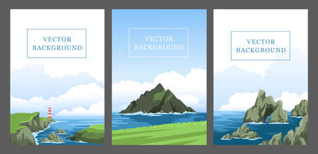 Set of vertical vector background with seascapes, seasides, cliffs, coasts, coastlines, rocks. Sea and ocean with big fluffy clouds. Hand-drawn illustrations.