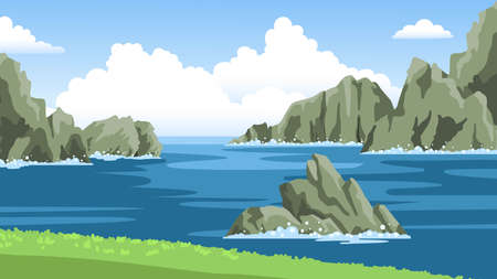 Sea landscape with mountains, rocks, cliffs, stones and blue sky with big fluffy clouds. Colorful panoramic scenery. Hand-drawn vector illustration.