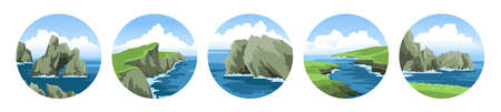 Cliffs, rocks, coasts, mountains, sea capes. Set of simple round hand-drawn vector illustrations with ocean scenic view.