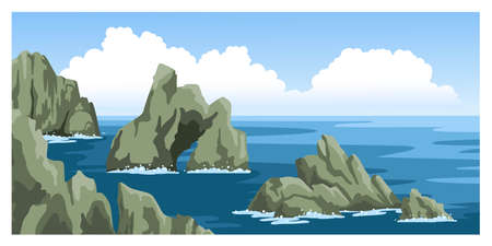 Sea view with many rocks, sea foam, blue sky with fluffy clouds. Colorful ocean scenic landscape. Hand-drawn illustration. Ilustração