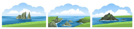 Set of sea landscape panoramic views. Rocks, cliffs, stones, coastlines, coasts, mountains and blue sky with fluffy clouds. Colorful beautiful scenery. Vector illustration. Ilustração