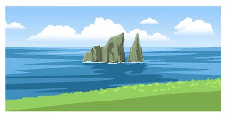 Kicker Rock, Leon Dormido. Beautiful panoramic seascape with green coastline, big fluffy clouds. Ocean scenic view. Hand-drawn vector illustration. Ilustração