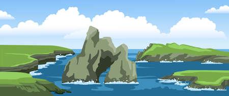 Ocean landscape with cliffs, rocks, coast, sea foam and big cloud in the sky. Summer hand-drawn illustration.