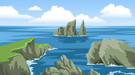 Seascape with rocky coastlines, rocks, cliffs, stones, blue sky with big fluffy clouds. Colorful panoramic ocean scenery. Hand-drawn vector illustration. Ilustração