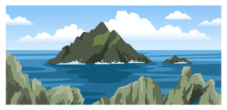 Skellig michael irish rock. Skellig Islands, County Kerry. Seascape with rocks and sea foam, large fluffy clouds. Round hand-drawn illustration.
