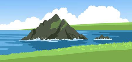 Sea views from the green coastline. Seascape summer panoramic scenery. The rock on the horizon. Hand-drawn vector illustration. Ilustração