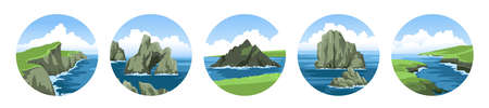 Set of round sea vector illustrations of landscapes with rocks, cliffs, mountains, stones and blue sky with fluffy clouds. Colorful ocean scenic view. Flat vector illustration.