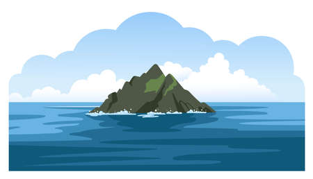 Skellig michael irish rock. Skellig Islands, County Kerry. Sea and ocean panoramic landscape. with big fluffy clouds. Hand-drawn colorful vector illustration.
