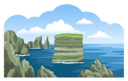 Dan Bristy rock. Sea nature landscape with fluffy clouds and rocks, cliffs, stones. Colorful panoramic irish scenery. Ocean scenic view. Hand-drawn vector illustration. Ilustração