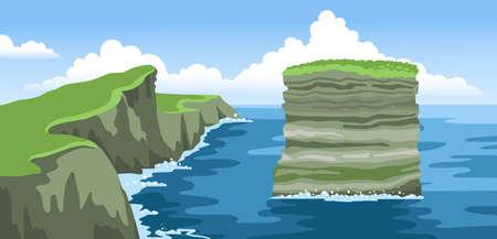 Rock Dan Bristy near Irish coast. Dun Briste sea stack. Landscape with fluffy clouds. Colorful ocean scenic view. Hand-drawn vector illustration.