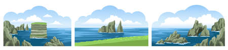 Collection of seascapes with rocks, cliffs, stones, coastlines, coasts, mountains and blue sky with fluffy clouds. Colorful beautiful scenery. Vector illustration.