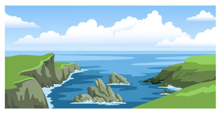 Sea landscape with rocky coastlines, rocks, cliffs, stones, blue sky with big fluffy clouds. Colorful panoramic ocean scenery. Hand-drawn vector illustration.