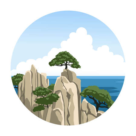 Sea rock with a tree on top. Chinese seascape. Ocean view. Simple round hand-drawn illustration. Vector icon.