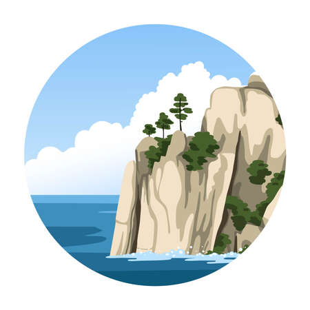 Sea rock. Simple round vector illustration with sea view. Ocean hand-drawn landscape.
