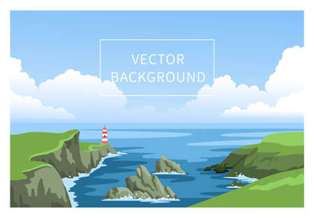 Coastline landscape with lighthouse. Irish green seascape with cloudy sky and big fluffy clouds. Signal building on seaside, seashore. Hand-drawn vector background.