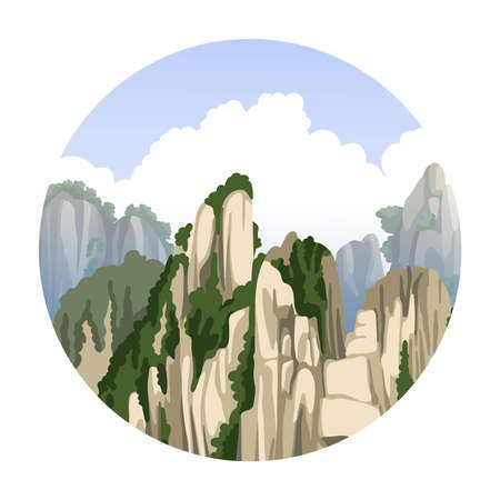 Chinese mountains landscape with big clouds. Asian nature. Realistic hand-drawn round vector illustration. Travel to China. Ilustração