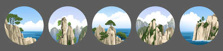 Set of round sea and mountains chinese landscapes with rocks, cliffs, fog, blue sky with fluffy clouds. Realistic hand-drawn vector illustration. Ilustração